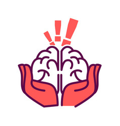 brain in hands with exclamation mark above vector image