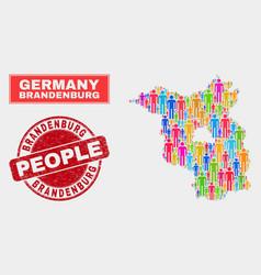 Brandenburg land map population people and vector