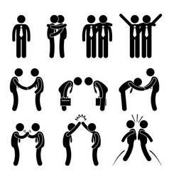 business manner greetings gesture stick figure vector image