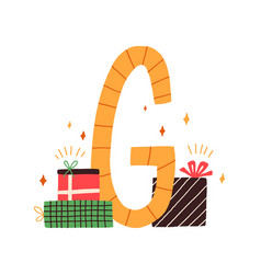 Capital letter g childish english alphabet with vector