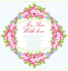 Card template with garden pink roses vector image