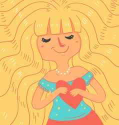 Cartoon Girl with Closed Eyes vector