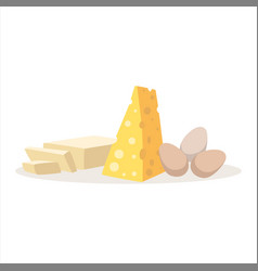 Cheese eggs and butter baking ingredients vector
