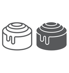 Cinnamon bun roll line and glyph icon vector