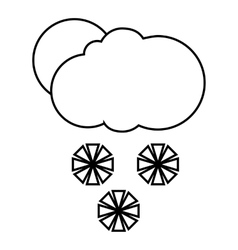 Cloud snowflakes and sun icon outline style vector