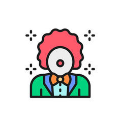 Clown animator in circus flat color line vector