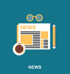 coffee with newspaper pencil and eyeglasses vector image