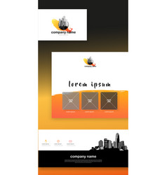 colorful abstract corporate identity template set vector image