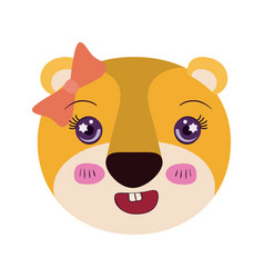 Colorful caricature face female lioness animal vector