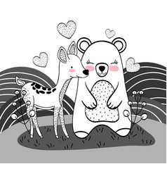 Cute bear and deer animals with hearts vector