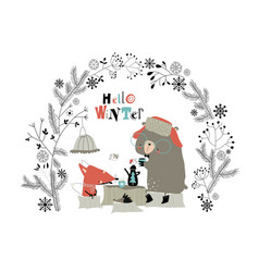 cute fox with bear drinking tea in winter vector image