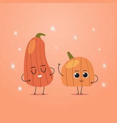 Cute orange pumpkin charcters couple funny cartoon vector