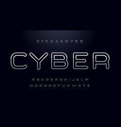 cyber font capital letters with shiny metal vector image