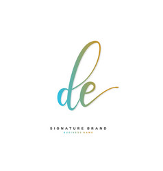 D e de initial letter handwriting and signature vector