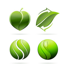 Ecological leaves concept icons heart recycling vector