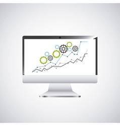 economy growth desktop computer technology icon vector image