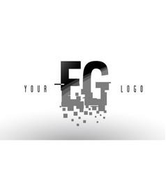Eg e g pixel letter logo with digital shattered vector