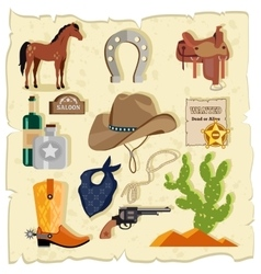 Elements of Wild West Cactus Revolver Hat vector