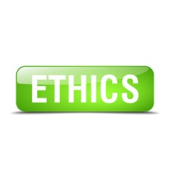 Ethics green square 3d realistic isolated web vector