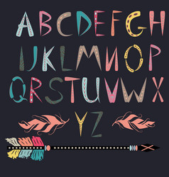 ethnic font native american indian alphabet set vector image