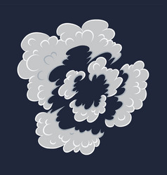 Explosion cartoon bomb explode effect with smoke vector
