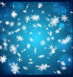 falling snowflakes background vector image