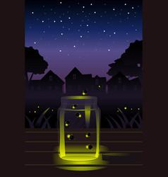 Fireflies in the jar vector