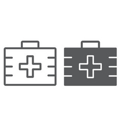 first aid kit line and glyph icon health vector image