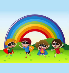 four kids in hero outfit playing in the park vector image