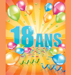 French birthday card 18 years vector