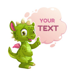 Funny cartoon little green dragon vector