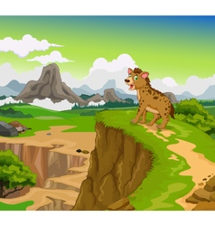 funny hyena cartoon with beauty mountain landscape vector image