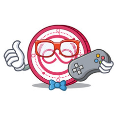 Gamer aeternity coin mascot cartoon vector