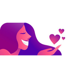 girl in love with heart icons concept web banner vector image