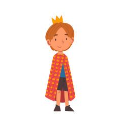 Girl wearing prince costume cute kid playing vector