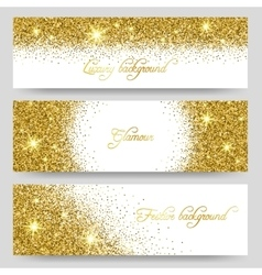 Glitter banners glittering greeting card vector