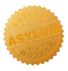Golden asylum badge stamp vector