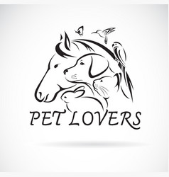 group pets - horse dog cat humming bird parrot vector image
