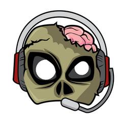 Halloween paper mask - zombie wearing headset vector