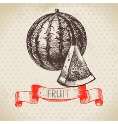 Hand drawn sketch fruit watermelon Eco food vector image