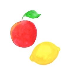 Hand drawn watercolor apple and lemon vector
