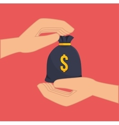 hands with money sack vector image