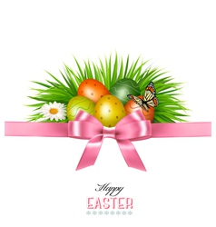 Happy Easter background Colorful Easter eggs and vector image