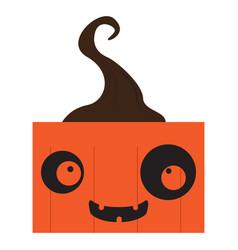 happy halloween cartoon pumpkin monster avatar vector image