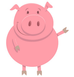 happy pig farm animal character vector image