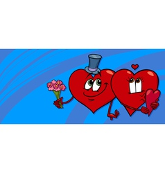 hearts in love valentine card vector image