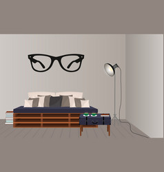 interior mockup in hipster style floor lamp loft vector image