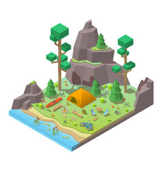 Isometric 3d low poly elements in the vector