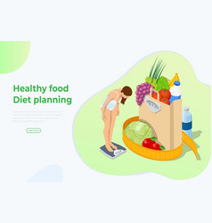Isometric healthy food and diet planning concept vector