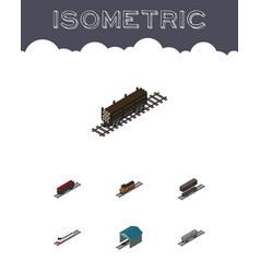 Isometric railway set of train delivery tank vector